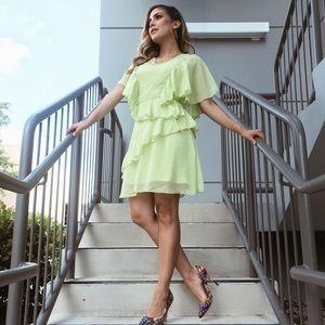 Neon green ruffle dress